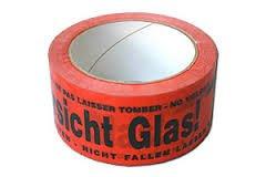 Warnklebeband -Vorsicht Glas - rot - 3 Rolle