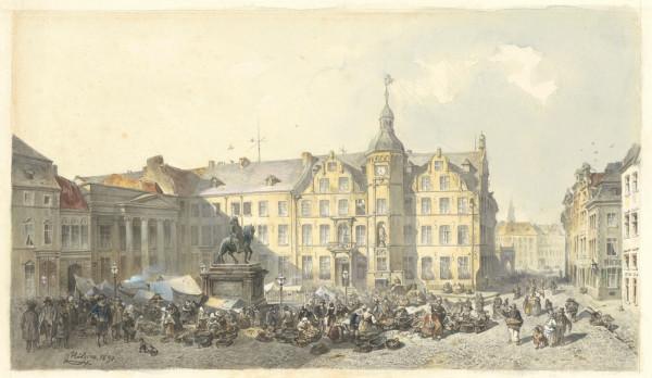 Marktszene vor dem Düsseldorfer Rathaus