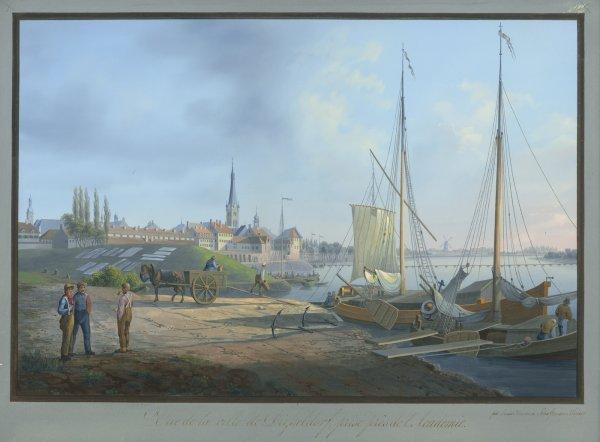 Ansicht Düsseldorfer Rheinufer Erste Hälfte 19. Jahrhundert