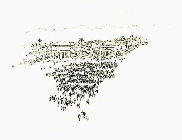 Nordafrikanische Stadt mit Basar